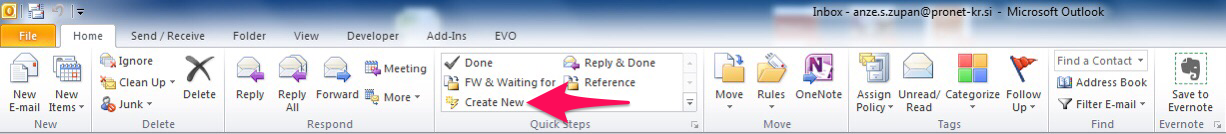 Create New Quick Step in Outlook